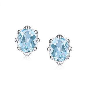 4x5mm Oval Topaz/Peridot/Crystal Silver Earrings